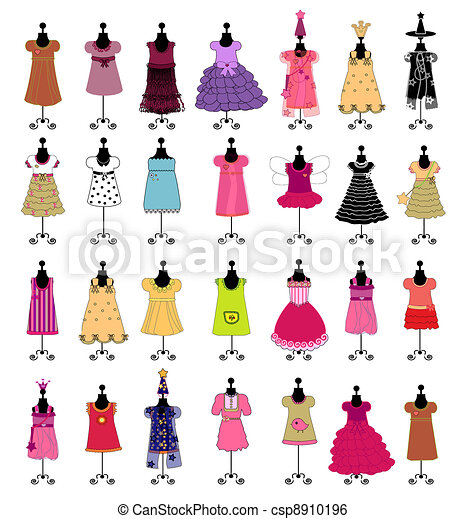 fashion., komplet, ve, girls., stroje - csp8910196
