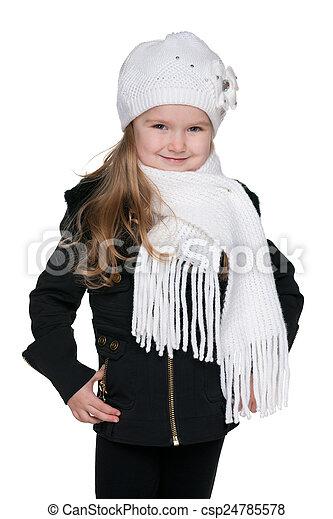 Fashion little girl against the white - csp24785578