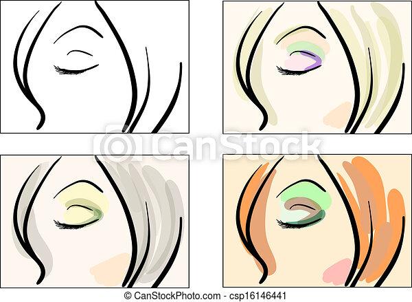 Fashion make uk sketches - csp16146441