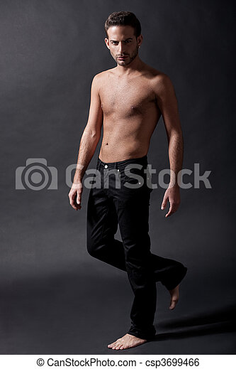 Fashion male model with black jean - csp3699466