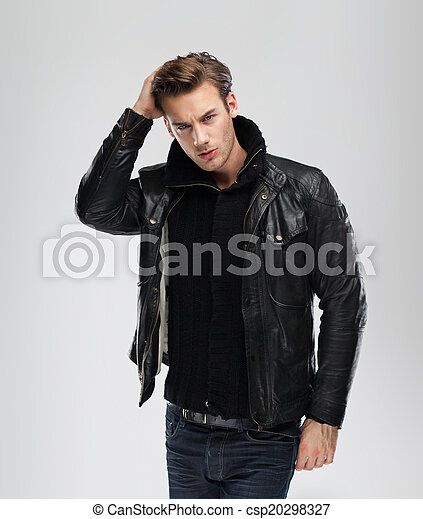 Fashion Man Model Leather Jacket Gray Background Fashion Man