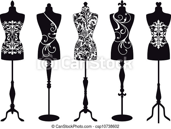 fashion mannequins, vector set - csp10738602