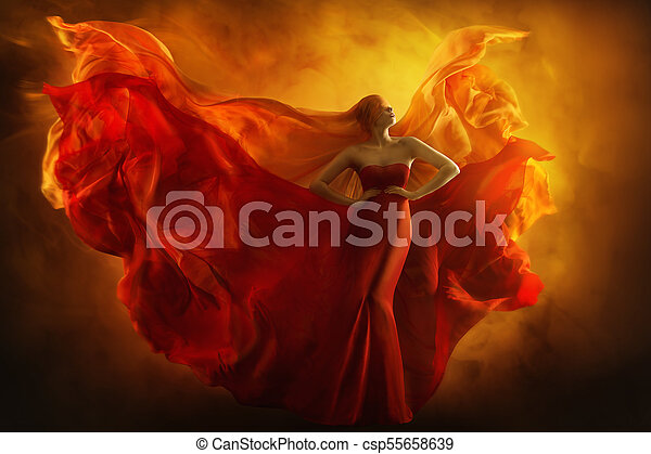 Fashion Model Art Fantasy Fire Dress Blindfolded Woman Dreams In Red Flying Gown Girl Beauty Portrait Fabric Fluttering Like Flame Wings