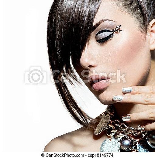 Fashion Model Girl Portrait. Trendy Hair Style - csp18149774