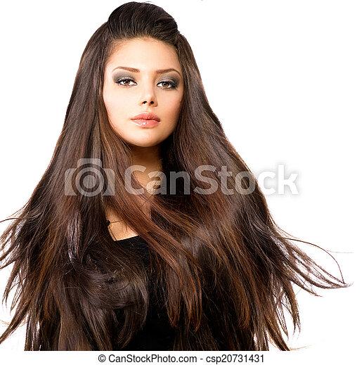Fashion Model Girl Portrait with Long Blowing Hair - csp20731431