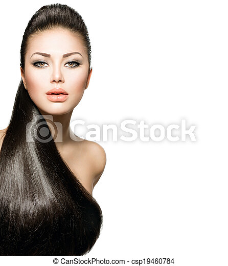 Fashion Model Girl with Long Healthy Straight Hair - csp19460784