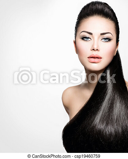 Fashion Model Girl with Long Healthy Straight Hair - csp19460759