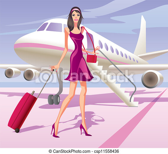Fashion model is traveling by air - csp11558436