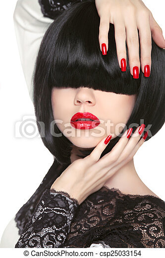 Fashion model. Long Black Fringe. Red sexy lips. Bob Hairstyle.  - csp25033154