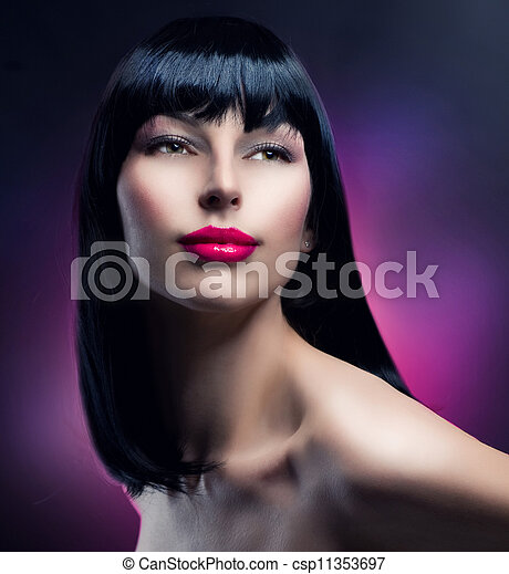Fashion Model Portrait. Hairstyle. Beautiful Brunette Girl  - csp11353697