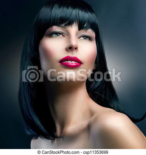 Fashion Model Portrait. Hairstyle. Beautiful Brunette Girl - csp11353699