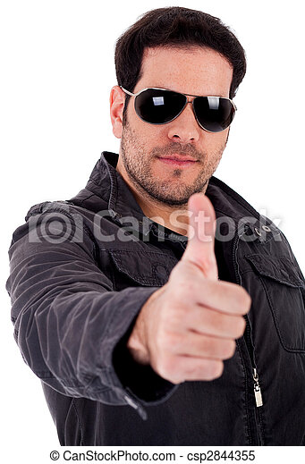 Fashion model showing thumbsup wearing sunglasses - csp2844355