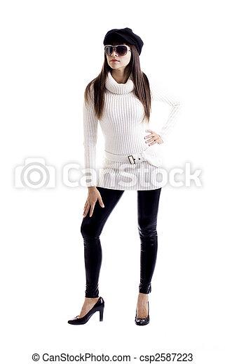 Fashion model white knit work blouse - csp2587223