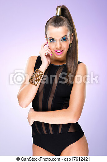 Fashion Model with luxury ,extreme makeup - csp17612421