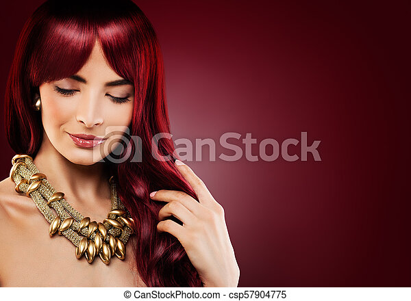 Fashion Model Woman With Red Curly Hair Beautiful Redhead Girl On Banner Background