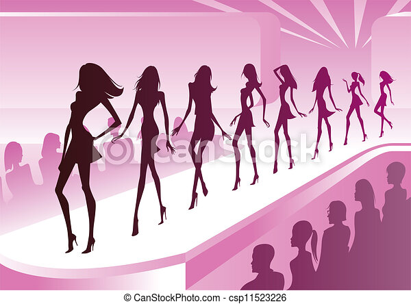 fashion models show new clothes at a review vector illustration rh canstockphoto com fashion show runway clipart fashion show clipart background