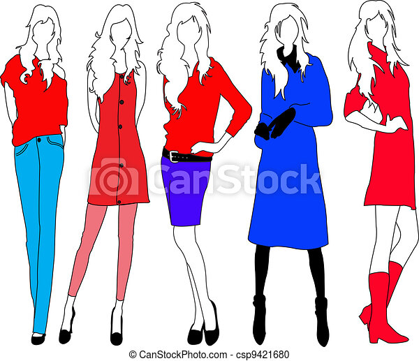 fashion models fashion model in colourful outfits vector clipart rh canstockphoto com fashion victoria secret fashion vector flats