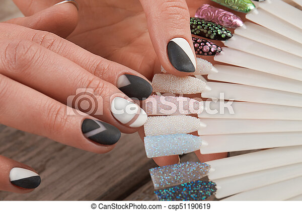 Fashion Nail Art Samples In Female Hands Young Woman Manicured