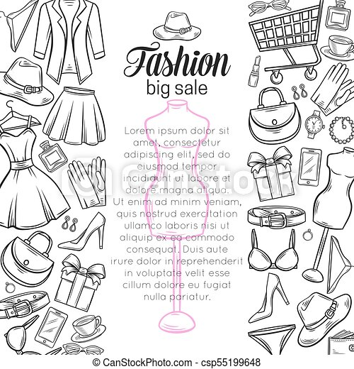 Fashion Online Shop Page Banners Template Design Dress Lipstick Perfume Cart Shoe Clothing Purse Gift Hat Watches