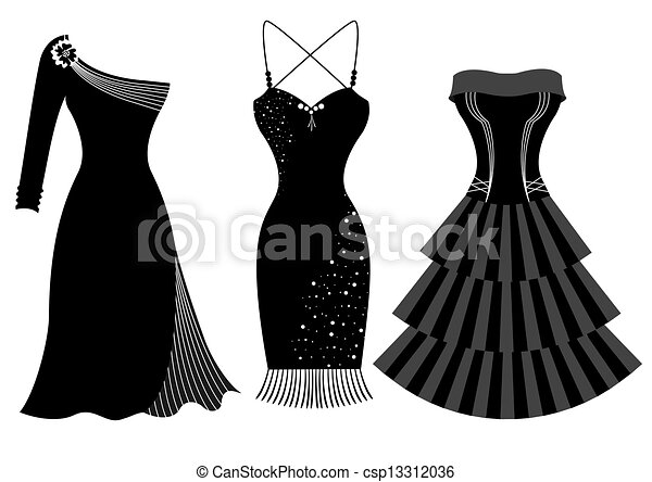 Fashion Party Dresses For Woman Isolated On White