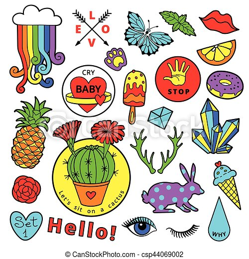 Fashion patch badge elements in cartoon 80s-90s comic style. Set modern trend doodle pop art sketch. - csp44069002
