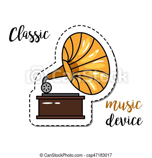 fashion patch element gramophone fashion patch element with quote classic music device and gramophone icon vector can stock photo