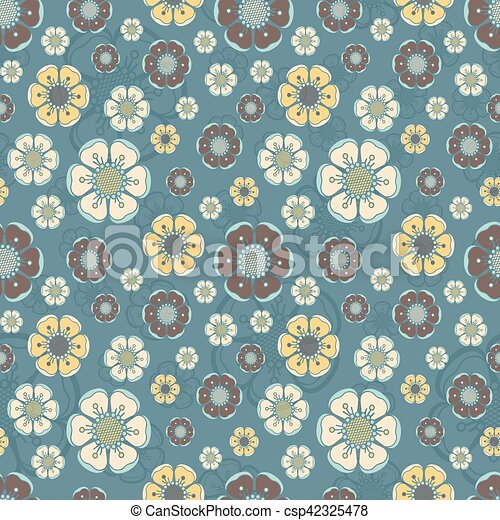 Fashion Pattern With Flowers In Retro Color Floral Summer Pattern