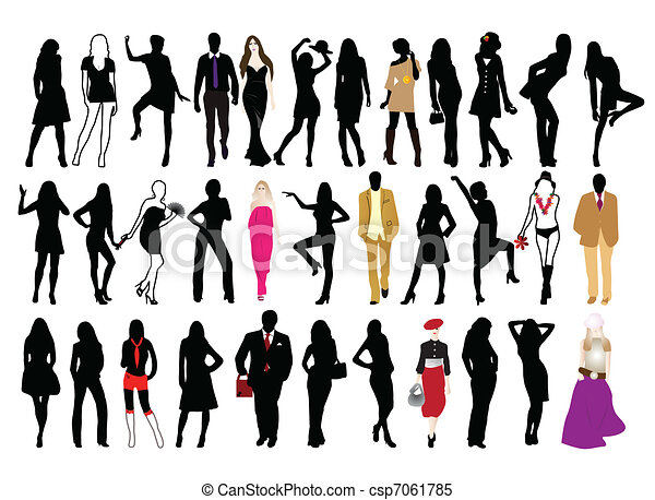 Fashion People Silhouettes Of Man And Woman