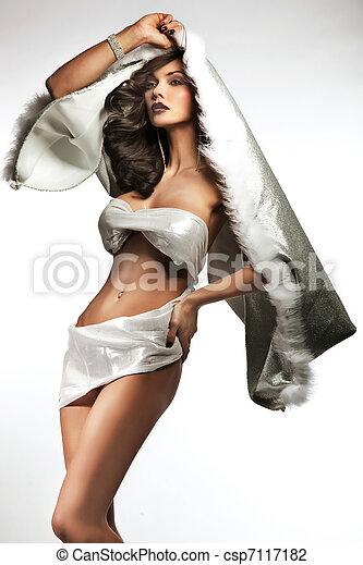 Fashion photo of beautiful brunette lady - csp7117182