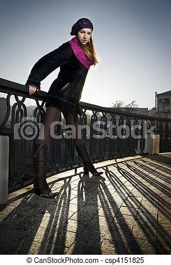 fashion photo of girl on the street - csp4151825
