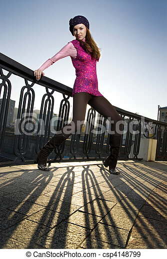 fashion photo of girl on the street - csp4148799