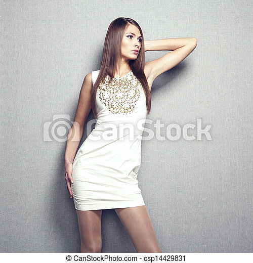 Fashion photo of young sensual woman in beige dress - csp14429831
