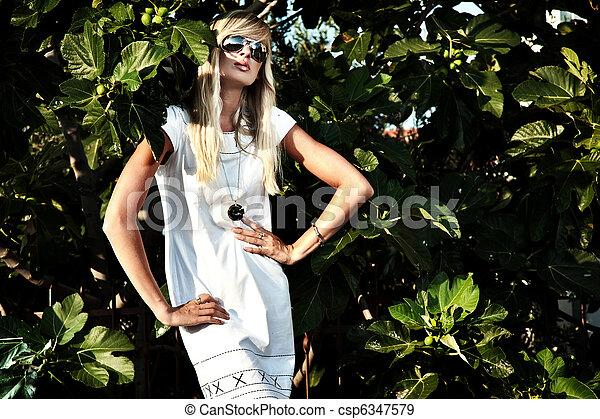 Fashion portrait of a sexy blonde - csp6347579
