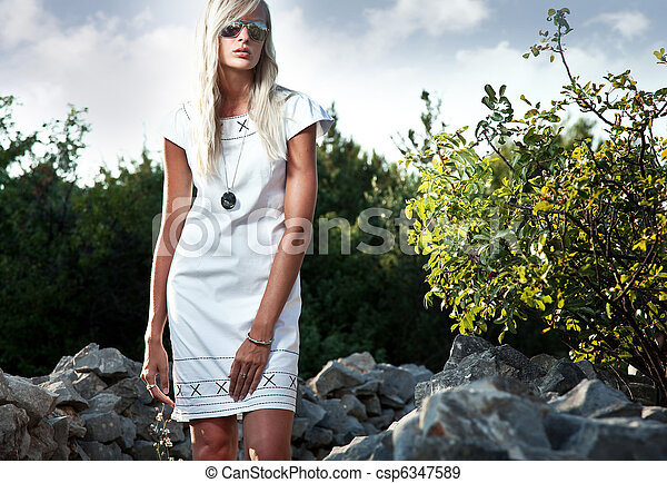 Fashion portrait of a sexy blonde - csp6347589