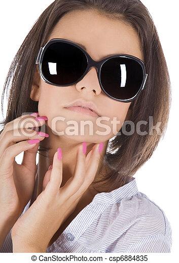 Fashion portrait of sexy, young, beautiful woman wearing sunglasses - csp6884835