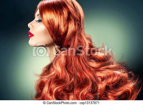 Fashion Red Haired Girl Portrait - csp13137671