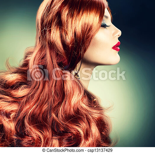 Fashion Red Haired Girl Portrait - csp13137429