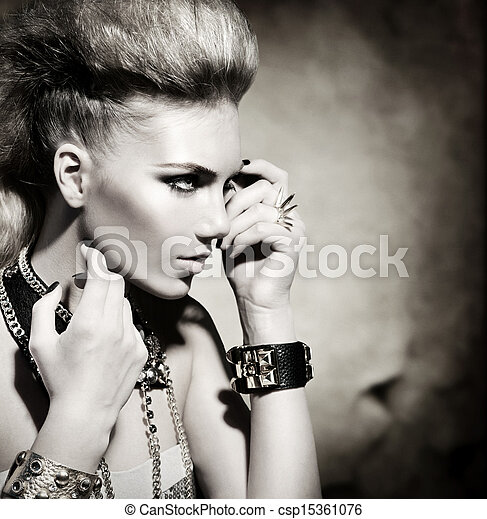 Fashion Rocker Style Model Girl Portrait. Black and White - csp15361076