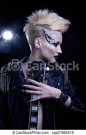 Fashion Rocker Style Model Girl Portrait. Hairstyle. Rocker or P - csp27660418
