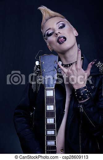 Fashion Rocker Style Model Girl Portrait. Hairstyle.Punk Woman Makeup, Hairdo and black Nails. Smoky Eyes - csp28609113