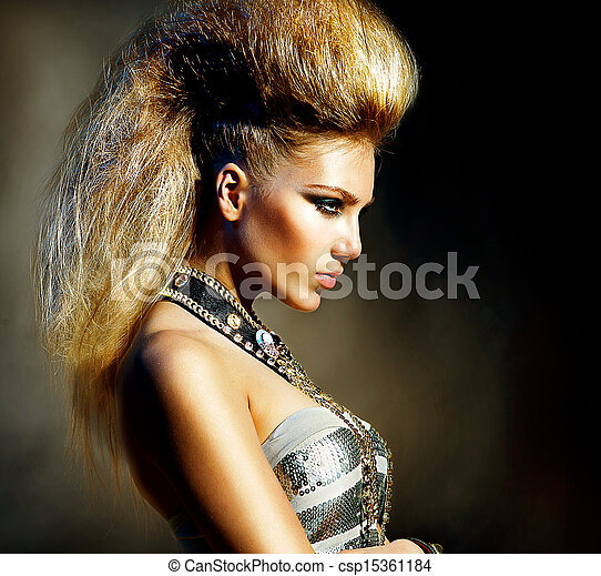 Fashion Rocker Style Model Girl Portrait. Hairstyle - csp15361184
