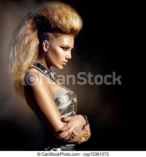 Fashion Rocker Style Model Girl Portrait. Hairstyle - csp15361073