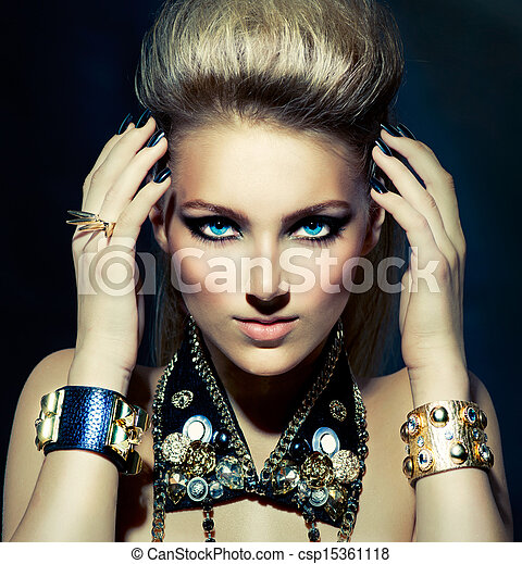 Fashion Rocker Style Model Girl Portrait. Hairstyle - csp15361118