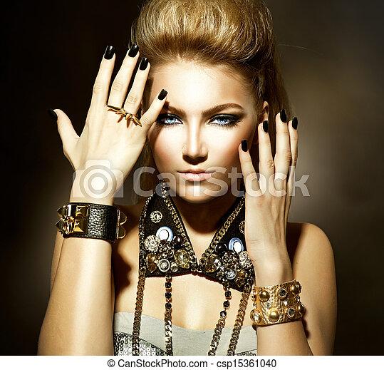 Fashion Rocker Style Model Girl Portrait  - csp15361040