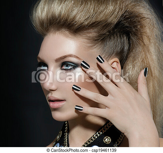 Fashion Rocker Style Model Girl Portrait. Hairstyle - csp19461139