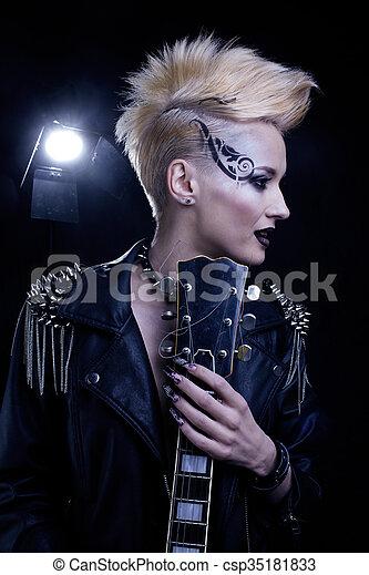 Fashion Rocker Style Model Girl Portrait  - csp35181833