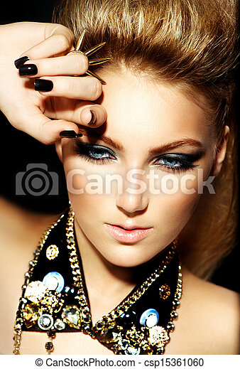 Fashion Rocker Style Model Girl Portrait. Hairstyle  - csp15361060