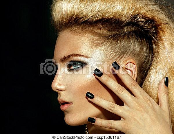 Fashion Rocker Style Model Girl Portrait. Hairstyle  - csp15361167