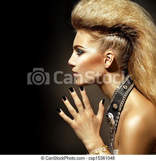 Fashion Rocker Style Model Girl Portrait. Hairstyle - csp15361048