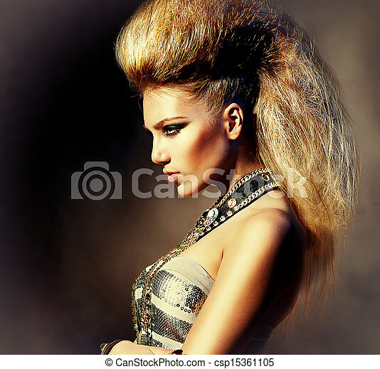 Fashion Rocker Style Model Girl Portrait. Hairstyle - csp15361105